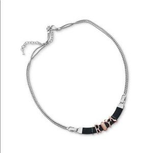 KeepCollective Silver Chain Black Leather Necklace